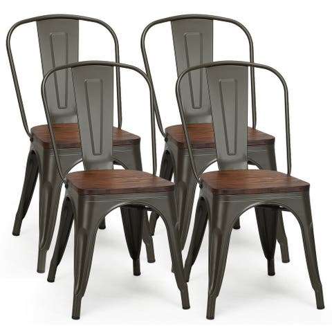 Costway Set of 4 Style Metal Dining Side Chair Wood Seat Stackable