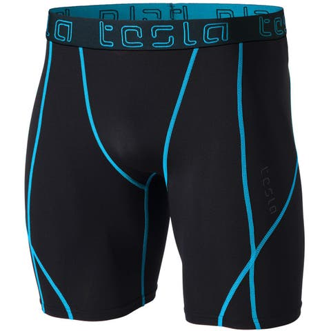 TSLA Tesla MUS17 Cool Dry Baselayer Compression Shorts - Black/Neon Blue