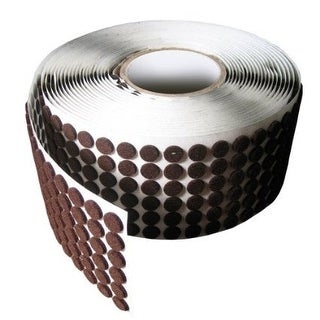 "Brown Adhesive Kiss Cut Felt Button Rolls - Medium Duty 1/8"" Thick, 1/2"" Dia, 5700 Pcs"