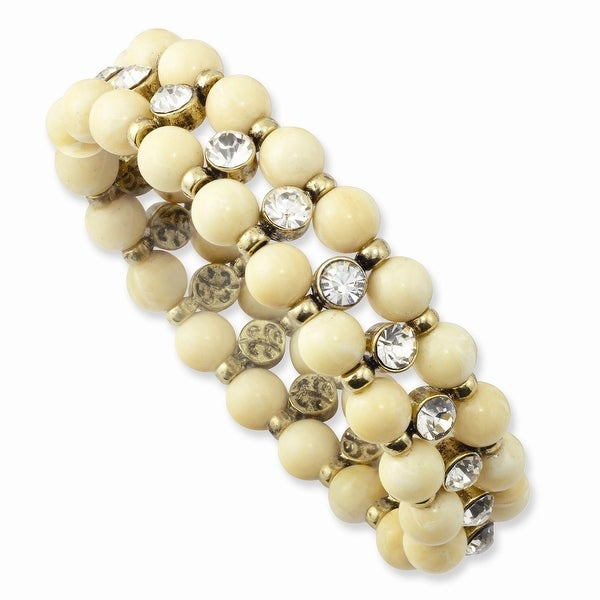 Brass Cream Acrylic Beads & Clear Glass Stone Stretch Bracelet