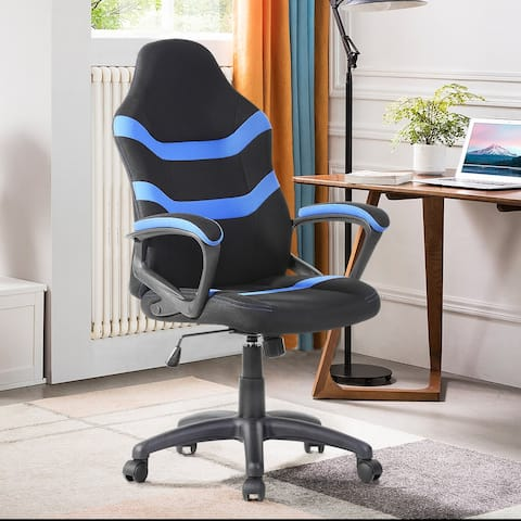 FurnitureR Faux Leather Modern Racing Chair
