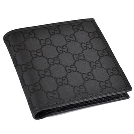 NEW GUCCI Men's 150413 Black Canvas GG Guccissima Coin Pocket Bifold Wallet