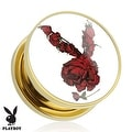 Rose Playboy Bunny Logo Print Gold Plated Screw Fit Plug (Sold Individually) - Thumbnail 0