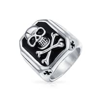 Bling Jewelry Black Enamel Mens Skull and Cross Bones Ring Stainless Steel