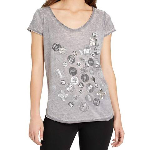 William Rast Gray Women's Size XS Rock and Roll Graphic Blouse