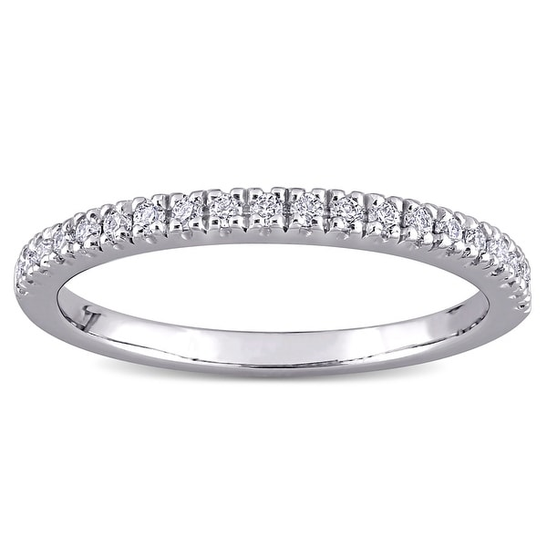 Miadora 1/5ct DEW Moissanite Stackable Anniversary Wedding Band in 10k White Gold. Opens flyout.