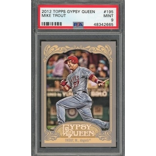Mike Trout Los Angeles Angels 2012 Topps Gypsy Queen Baseball Card 195 Graded PSA 9 MINT - Black - 5' x 8'