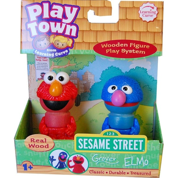 Sesame Street Play Town Learning Curve Real Wood 2pk Grover & Elmo - Multi