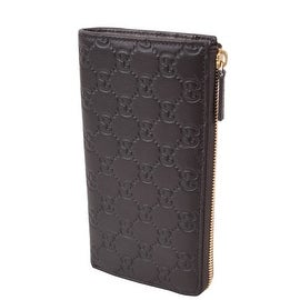 Gucci 332747 Brown Leather GG Guccissima Zip Around Coin Wallet Clutch