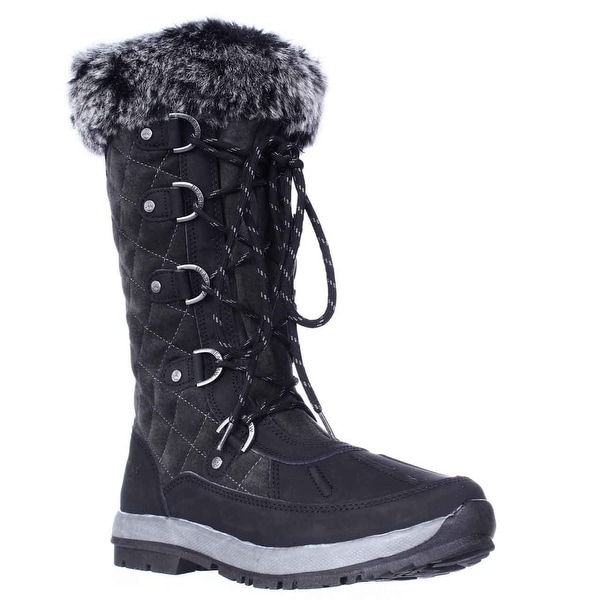 Bearpaw Gwyneth Never Wet Quilted Winter Boots, Black/Grey