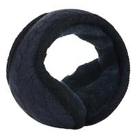 Warm Foldable Winter Knit Earmuffs for Women Men Dark Black