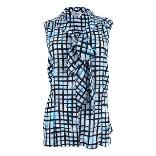 Tahari Women's Abstract-Print Tie-Neck Blouse - ivory/black/turquoise (2 options available)