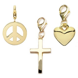 Julieta Jewelry Cross, Peace, Heart 14k Gold Over Sterling Silver Clip-On Charm Set