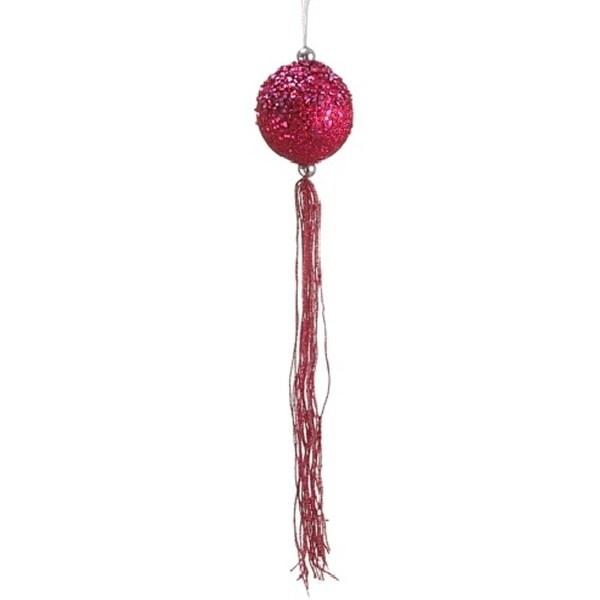 "12"" Pretty in Pink Fuchsia Glitter Christmas Ball Ornament with Tassels"