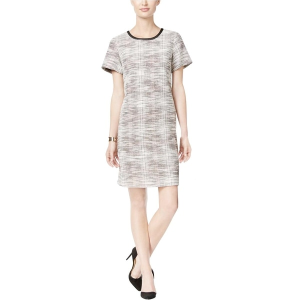 Tommy Hilfiger Womens London Casual Dress Tweed Faux Trim