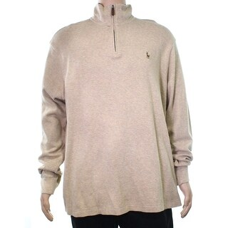 Polo Ralph Lauren NEW Beige Mens Size XL 1/2 Zip Estate Rib Sweater