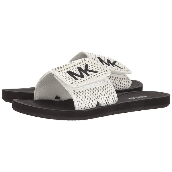 MICHAEL Michael Kors Womens MK Slide Lasered Mini Open Toe Casual Slide Sandals