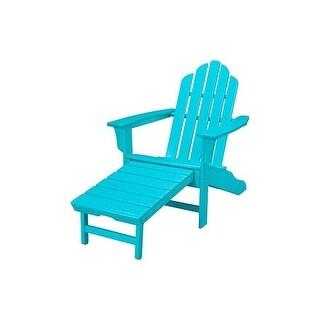 Hanover Outdoor HVLNA15AR All-Weather Contoured Adirondack Chair with Hideaway Ottoman- Aruba