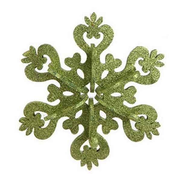 """9"""" Christmas Brites Large Green Glitter Drenched Snowflake Ornament"""