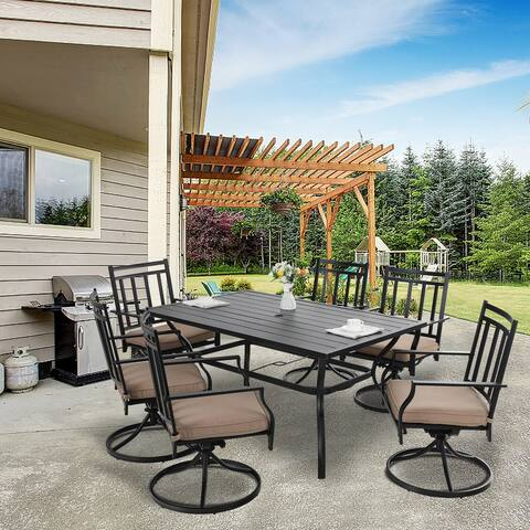 MFSTUDIO Patio Dining Set 7 Pieces, Patio Furniture Set Metal, 6 x Swivel Dining Chairs with 1 Umbrella Table