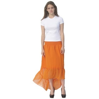 Deep Blue Womens Orange Solid Color Ruffle Hi-Low Hem Cover-Up Skirt