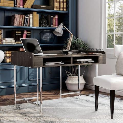 Furniture of America Yary Transitional Brown Metal Writing Desk