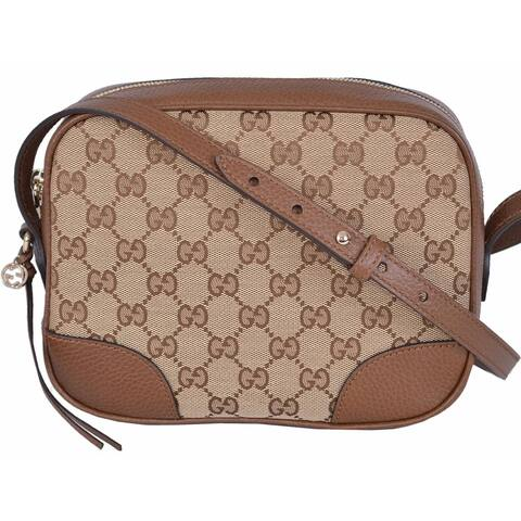 12fd78ce19 Gucci 449413 Beige Canvas Leather GG Guccissima BREE Crossbody Purse Bag -  8.5