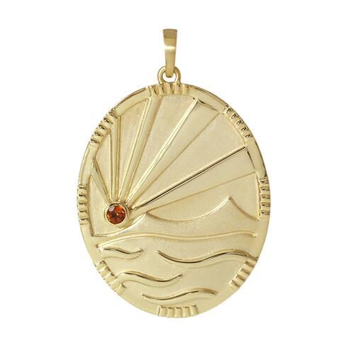 14k Yellow Gold Garnet Spessartine Designer Pendant Handmade Wholesale Jewelry