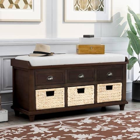Storage Bench with 3 Drawer&3 Rattan Basket&Removable Cushion, Espresso