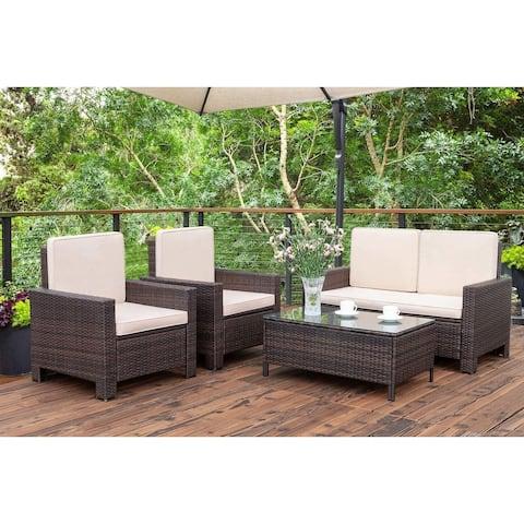 4 Pieces Patio Furniture Sets Rattan Chair Wicker Conversation Sofa Set Outdoor Indoor Backyard Garden Poolside Use Furniture