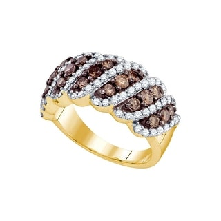 10kt Yellow Gold Womens Round Cognac-brown Colored Diamond Striped Band Fashion Ring 1 & 1/2 Cttw - Brown/White
