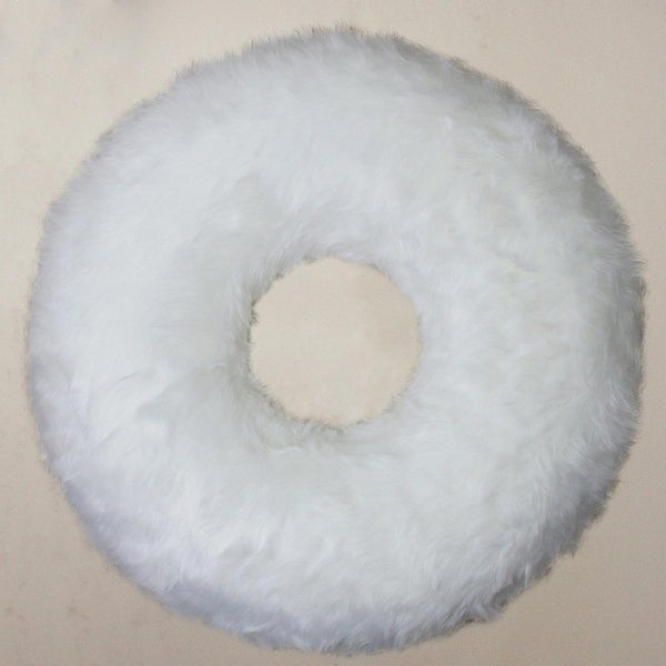 "24"" White Faux Fur Decorative Artificial Christmas Wreath - Unlit"