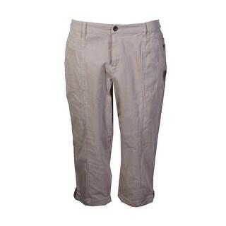Style Co Plus Size Beige Deep Pocket Button Tab Capri Pants W
