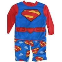 Superman Boys Royal Blue Logo Print 2 Pc Pajama Set 8-10
