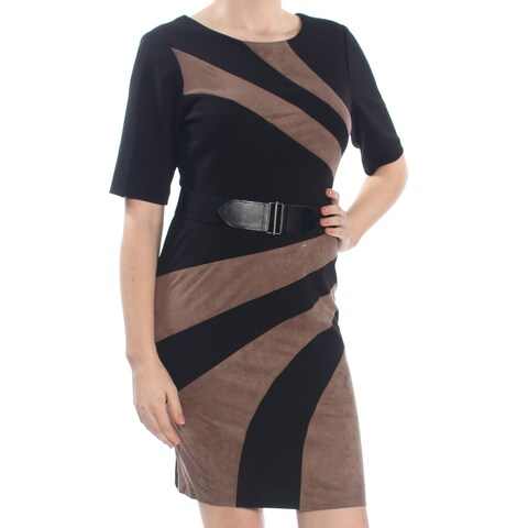 CONNECTED Womens Black Color Block Belted Jewel Neck Above The Knee Sheath Wear To Work Dress Petites Size: 8