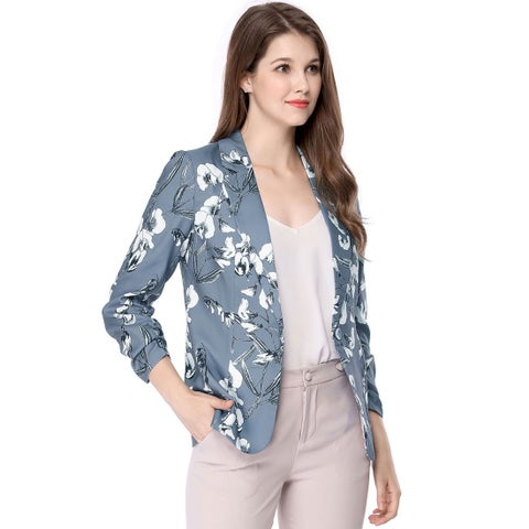 Allegra K Women's Notched Lapel Open Front Floral Blazer - Blue