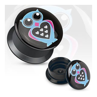 Love Owl Print Black Acrylic Flat Screw Fit Plug (Sold Individually) (4 options available)