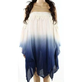 Ryu NEW Blue Ivory Womens Medium M Cold Shoulder Asymmetrical Hem Dress