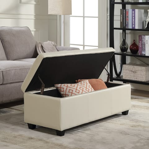 "Belleze Modern Elegant Ottoman Storage Bench Faux Leather 48"" - standard"