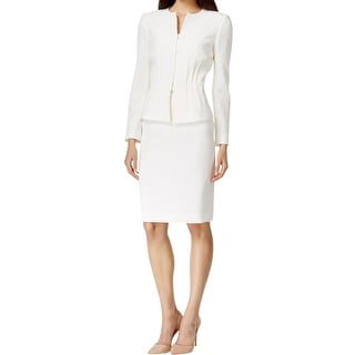 Tahari ASL Womens French Passion Skirt Suit Ponte Peplum