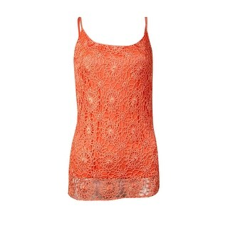 INC International Concepts Women's Floral Crochet Tank (S, Peach Punch) - peach punch - S