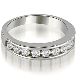 1.10 cttw. 14K White Gold Classic Channel Set Round Cut Diamond Wedding Ring
