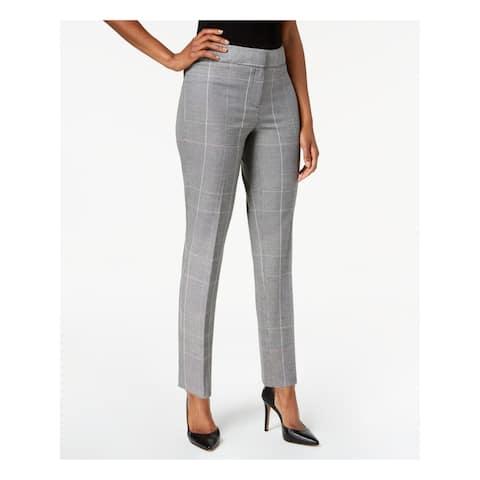 NINE WEST Womens Gray Plaid Straight leg Pants Size 10