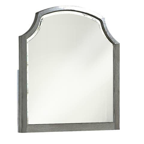 Transitional Style Wooden Frame Mirror with Clipped Corners, Gray