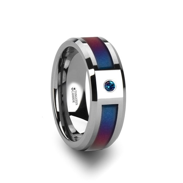 THORSTEN - CERULEAN Tungsten Carbide Ring with Blue/Purple Color Changing Inlay and Alexandrite Setting