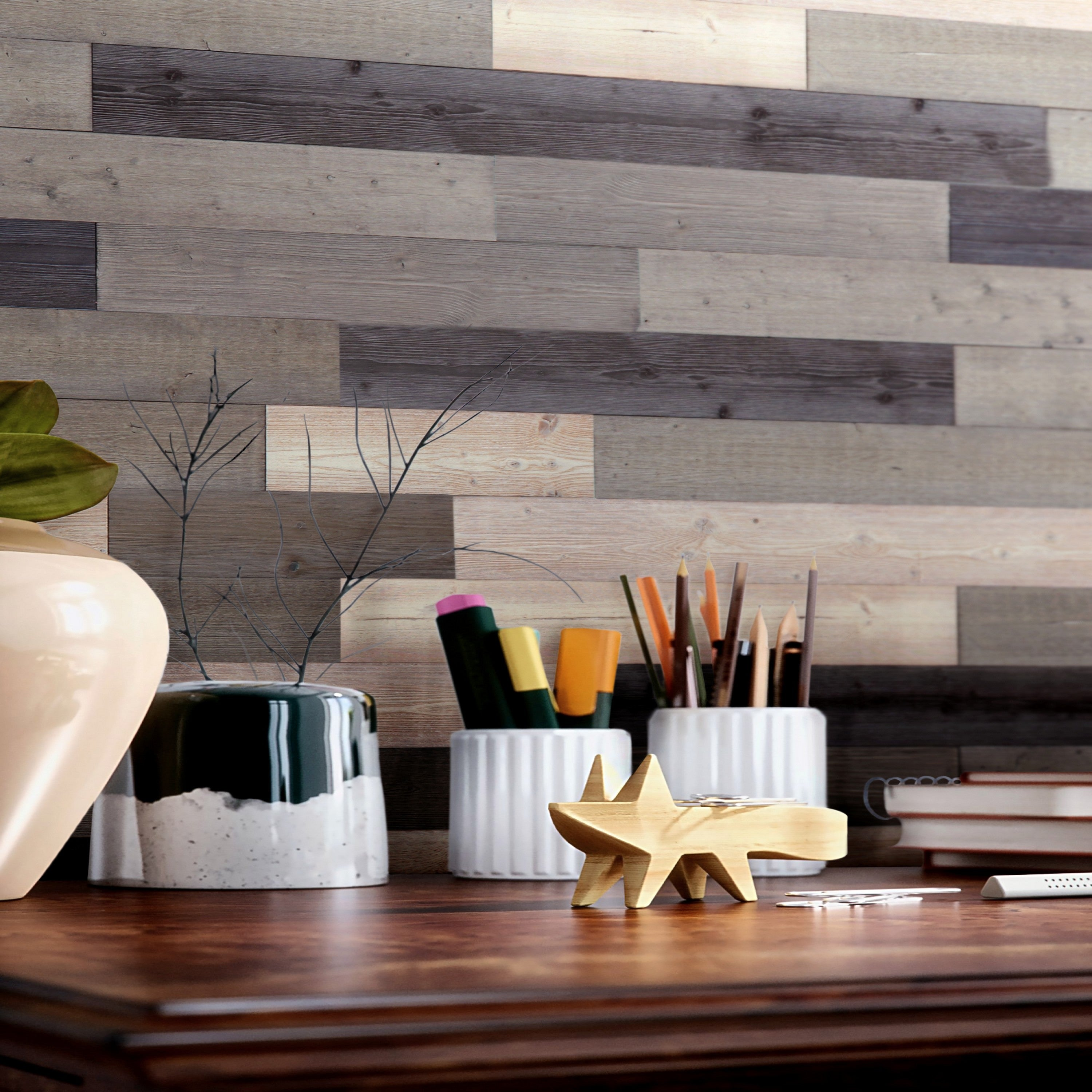 Shop Black Friday Deals On Reclaimed Rustic Wall Planks Self Adhesive Barn Wood Wall Panels 2box Overstock 31437600