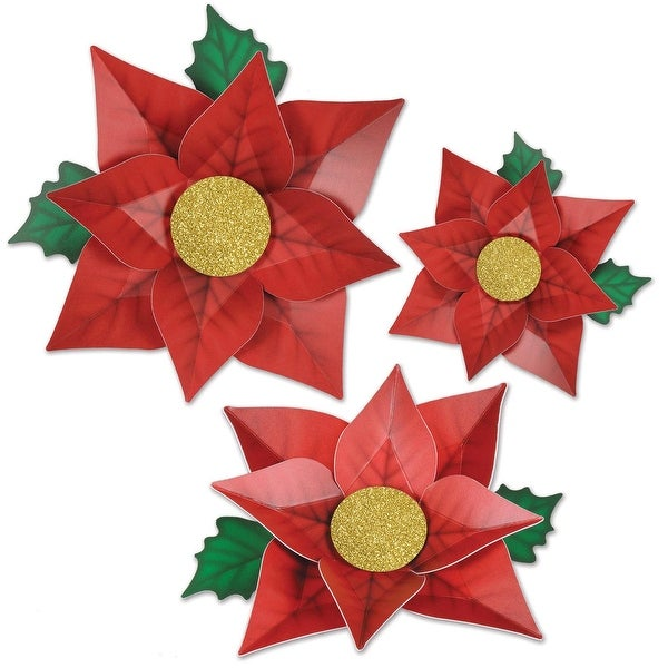 "Pack of 36 Printed Red Poinsettia Christmas Cutouts Decorations - 12.5"", 14.25"", 17"""