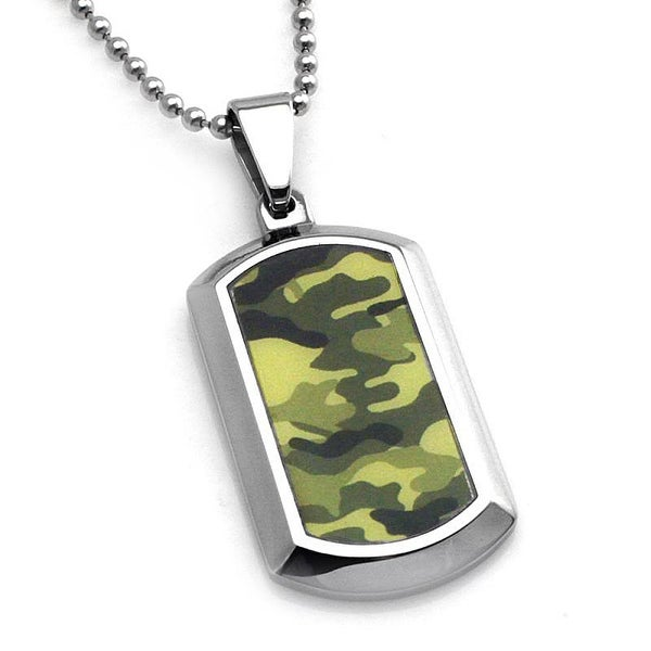 Stainless Steel Earth Green Camouflage Dog Tag Pendant - 24 inches