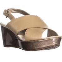 Circa Joan & David Wandy Wedge Ankle Strap Sandals, Light Natural - 8 us