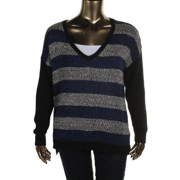 Kensie Womens Tunic Sweater Striped Long Sleeves